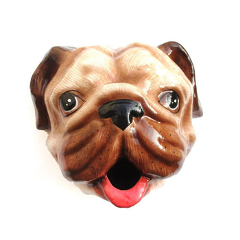 Pug Puppy Dog Head Shaped Faux Taxidermy Wall Mount Tissue Paper Roll Holder | Handmade Animal Decor | DOTOLY