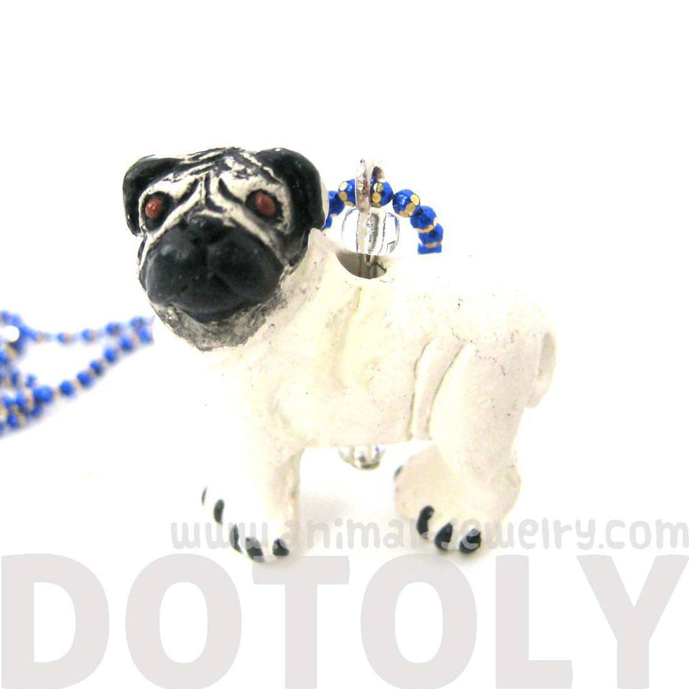 Pug Puppy Dog Shaped Porcelain Ceramic Animal Pendant Necklace | Handmade | DOTOLY