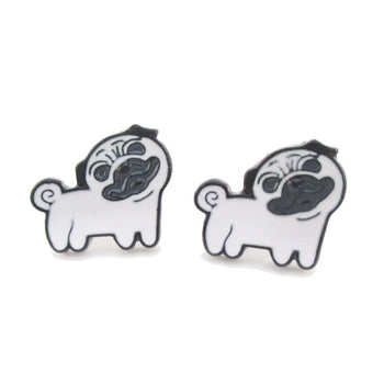 Cute Pug with Curly Tail Shaped Enamel Stud Earrings for Dog Lovers