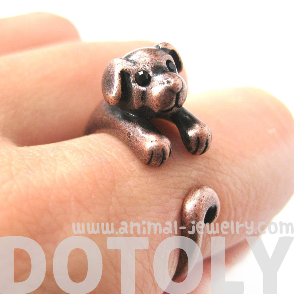 Puppy Dog Animal Wrap Around Ring in Copper | Sizes 4 to 9 Available | DOTOLY