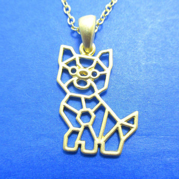 Puppy Dog Outline Shaped Pendant Necklace in Gold | Animal Jewelry | DOTOLY