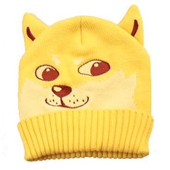 Puppy Dog Shaped Doge Animal Meme Themed Knit Beanie in Yellow | DOTOLY