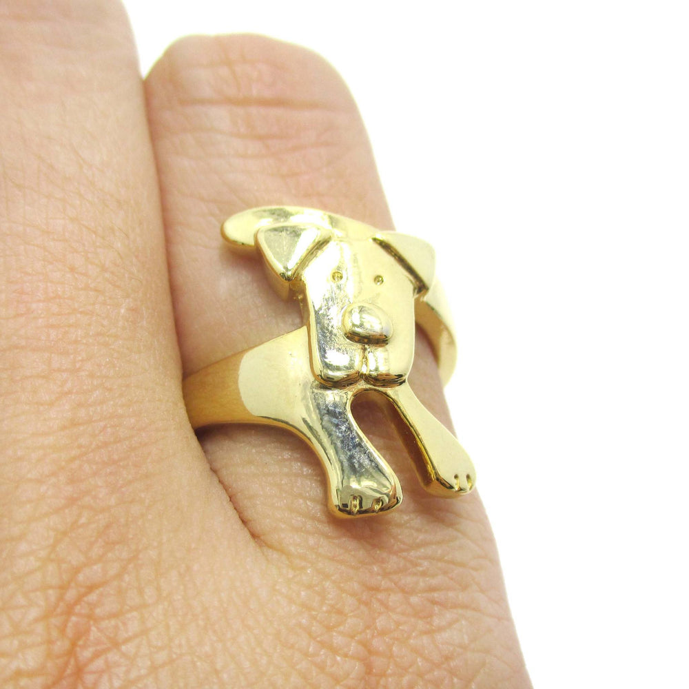Puppy Dog Wrapped Around Your Finger Shaped Animal Ring in Gold | DOTOLY