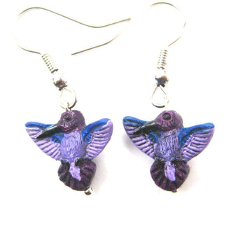 Purple Hummingbird Bird Shaped Porcelain Ceramic Animal Dangle Earrings | Handmade | DOTOLY