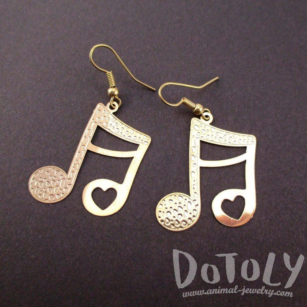 Quaver Note Shaped Music Themed Dangle Earrings in Gold | DOTOLY | DOTOLY