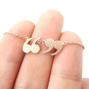 Quotation Marks Inverted Commas Shaped Charm Necklace in Rose Gold | DOTOLY | DOTOLY