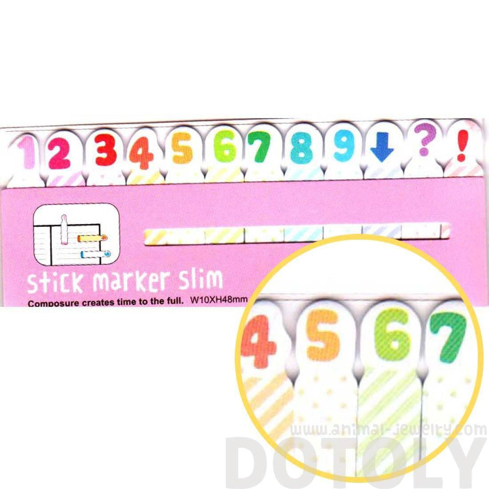 rainbow colored number memo pad post it index tabs dotoly