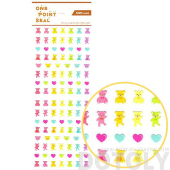 Rainbow Teddy Bear and Hearts Animal Sticker Envelope Seal for Scrapbooking and Decorating | DOTOLY