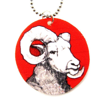 Ram Sheep Animal Hand Drawn Pendant Necklace | Handmade Shrink Plastic | DOTOLY