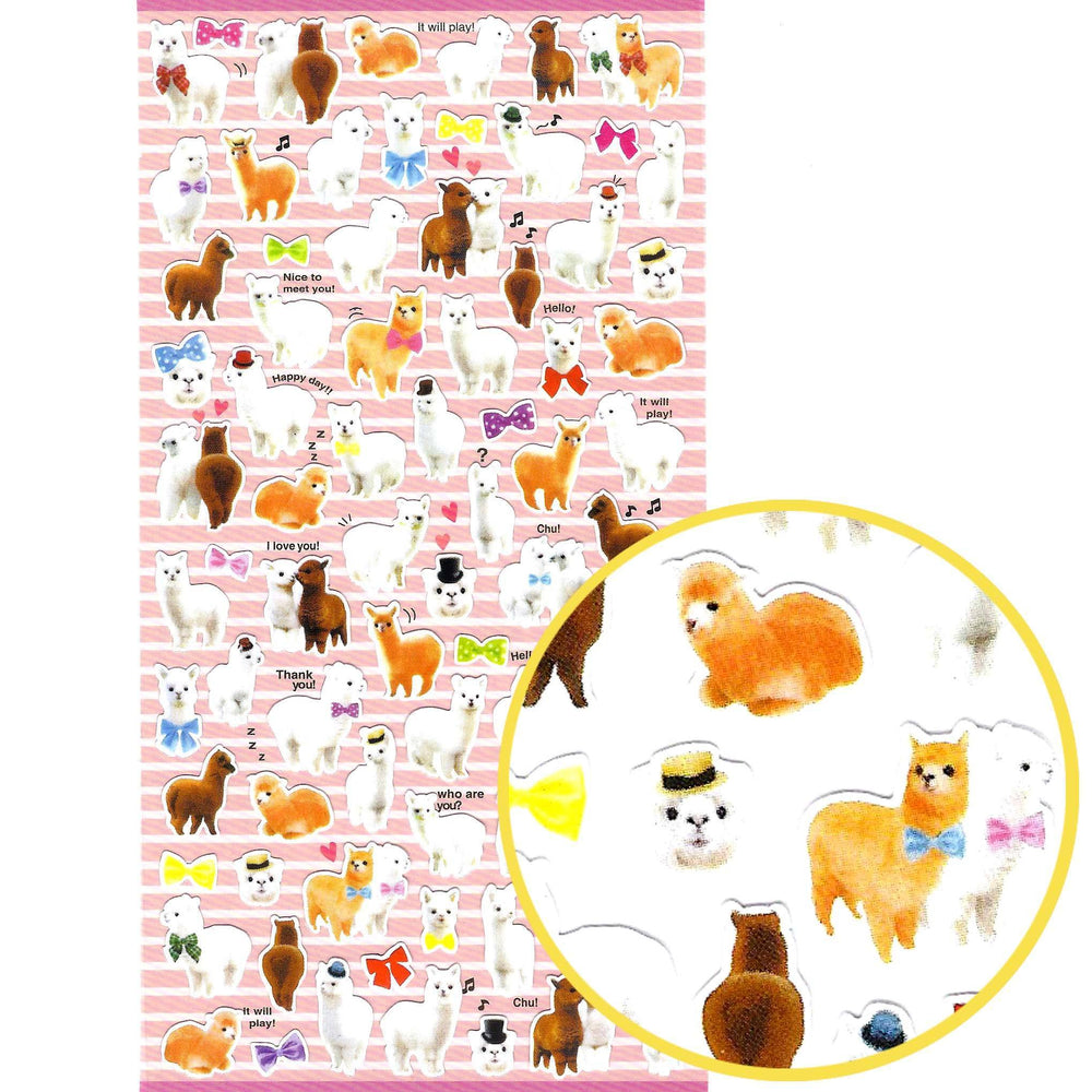 Realistic Alpaca Llama Animal Shaped Photo Stickers For Scrapbooking
