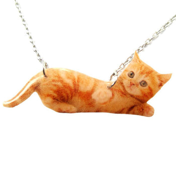 Realistic Baby Tabby Kitty Cat Shaped Pendant Necklace in Orange | Handmade | DOTOLY