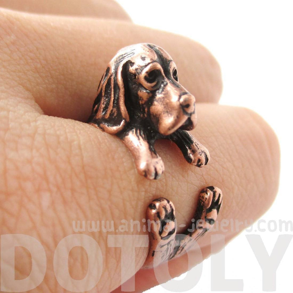 Realistic Basset Hound Shaped Animal Wrap Ring in Copper | Sizes 4 to 8.5 | DOTOLY