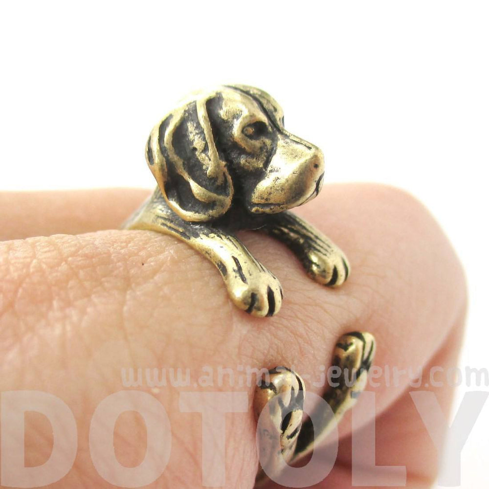 Realistic Beagle Puppy Shaped Animal Wrap Ring in Brass | Sizes 4 to 8.5 | DOTOLY