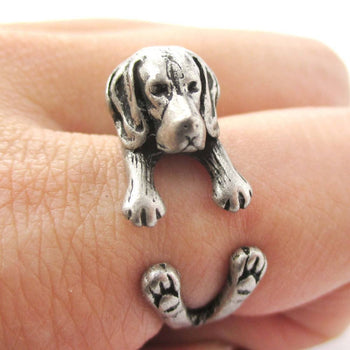 Realistic Beagle Puppy Shaped Animal Wrap Ring in Silver | Sizes 4 to 8.5 | DOTOLY