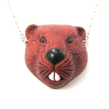 Realistic Beaver Head Shaped Porcelain Ceramic Animal Pendant Necklace | Handmade | DOTOLY