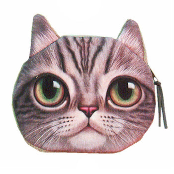 Realistic Big Eyed Kitty Cat Tabby Face Shaped Soft Fabric Zipper Coin Purse Make Up Bag | DOTOLY