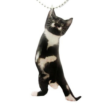 Black and White Kitty Cat Stretching on Hind Legs Shaped Pendant Necklace | Handmade | DOTOLY