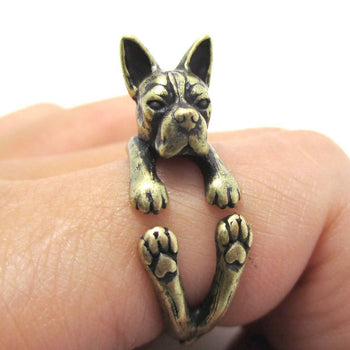Realistic Boston Terrier Dog Shaped Animal Wrap Ring in Brass | US Sizes 5 to 9 | DOTOLY