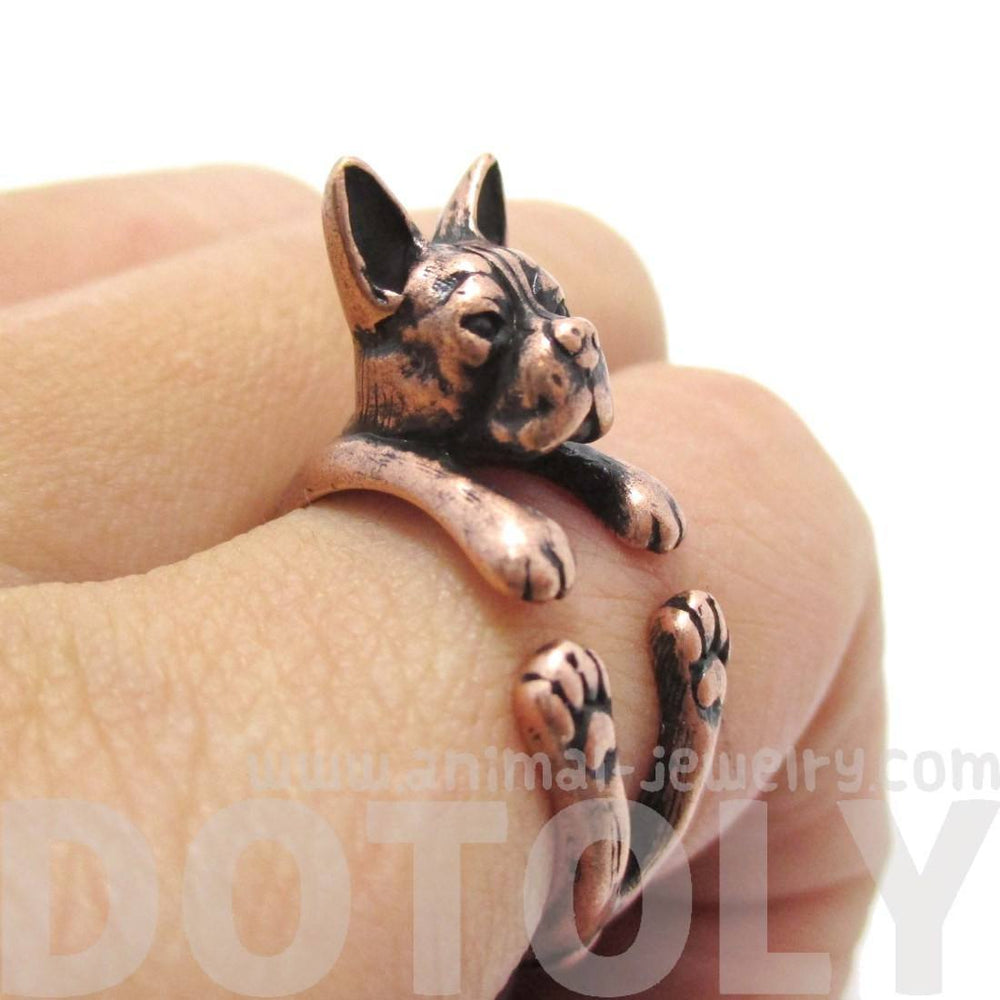 Realistic Boston Terrier Dog Shaped Animal Wrap Ring in Copper | US Sizes 5 to 9 | DOTOLY
