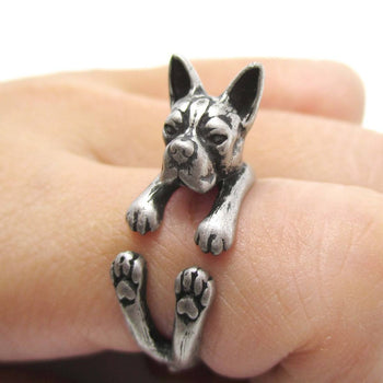 Realistic Boston Terrier Dog Shaped Animal Wrap Ring in Silver | US Sizes 5 to 9 | DOTOLY