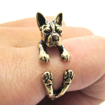 Realistic Boston Terrier Puppy Shaped Animal Wrap Ring in Shiny Gold | US Sizes 5 to 9 | DOTOLY