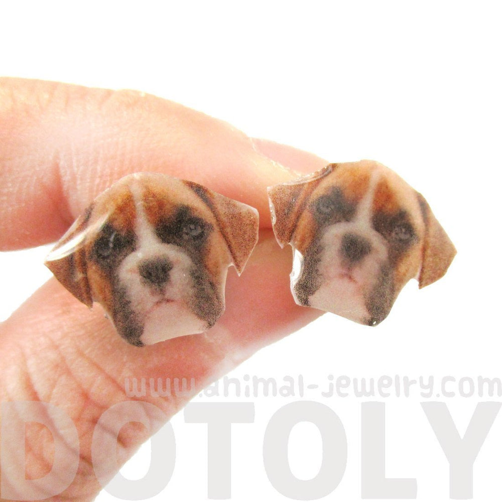 Realistic Boxer Dog Face Shaped Animal Resin Stud Earrings