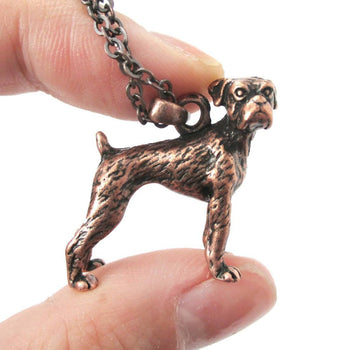 Realistic Boxer Dog Shaped Animal Pendant Necklace in Copper | Jewelry for Dog Lovers | DOTOLY