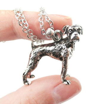 Realistic Boxer Dog Shaped Animal Pendant Necklace in Shiny Silver | Jewelry for Dog Lovers | DOTOLY