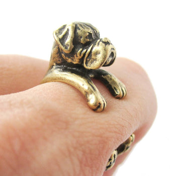 Realistic Boxer Dog Shaped Animal Wrap Ring in Brass | Sizes 4 to 8.5 | DOTOLY