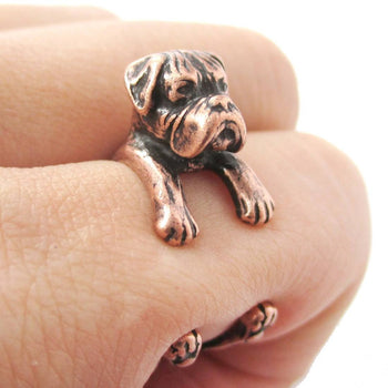 Realistic Boxer Dog Shaped Animal Wrap Ring in Copper | Sizes 4 to 8.5 | DOTOLY