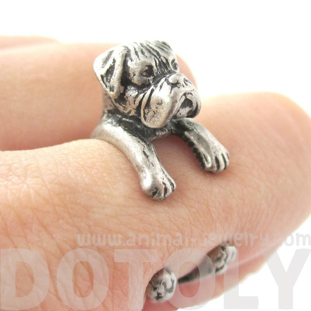 Realistic Boxer Dog Shaped Animal Wrap Ring in Silver | Sizes 4 to 8.5 | DOTOLY
