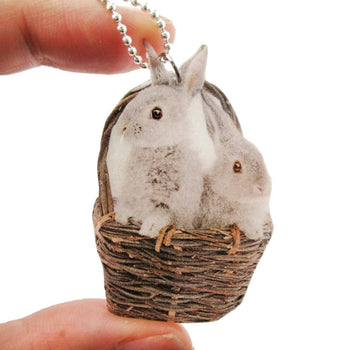 Realistic Bunnies in a Basket Animal Shaped Pendant Necklace | Handmade | DOTOLY