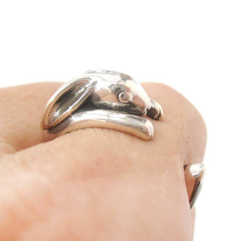 Realistic Bunny Rabbit Shaped Animal Wrap Around Ring in 925 Sterling Silver | US Sizes 4 to 8.5 | DOTOLY