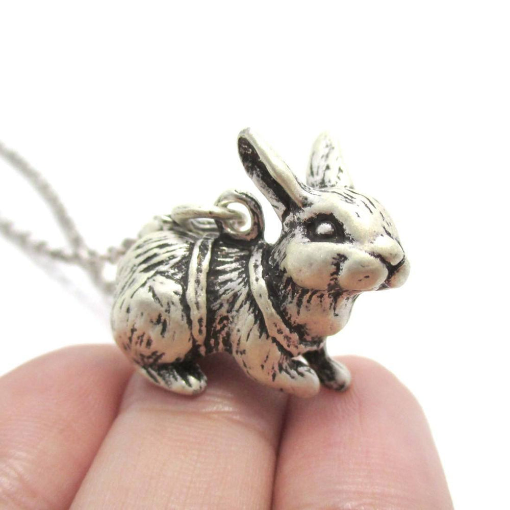 Realistic Bunny Rabbit Shaped Pendant Necklace in Silver | DOTOLY | DOTOLY
