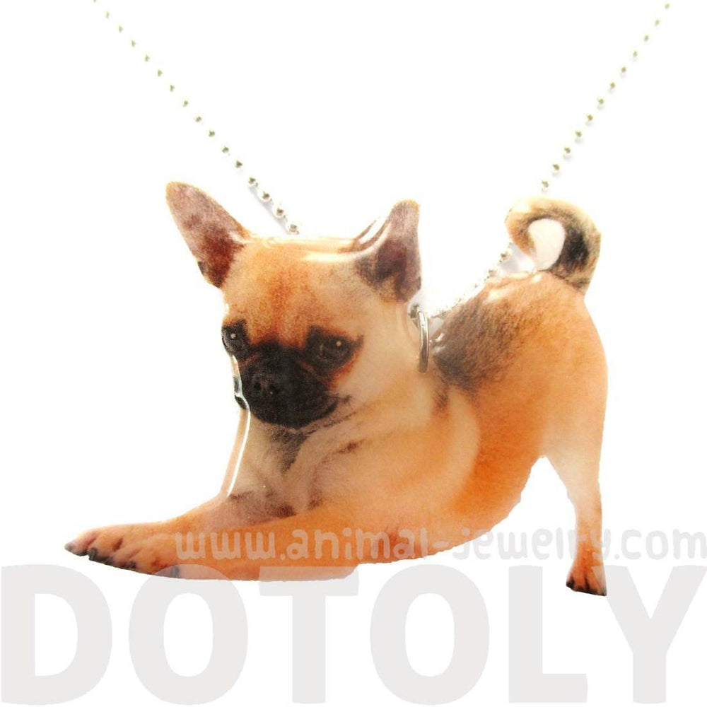 Realistic Chihuahua Puppy Dog in Playful Pose Shaped Pendant Necklace | Handmade | DOTOLY