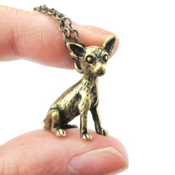 Realistic Chihuahua Puppy Dog Shaped Animal Pendant Necklace in Brass | Jewelry for Dog Lovers | DOTOLY