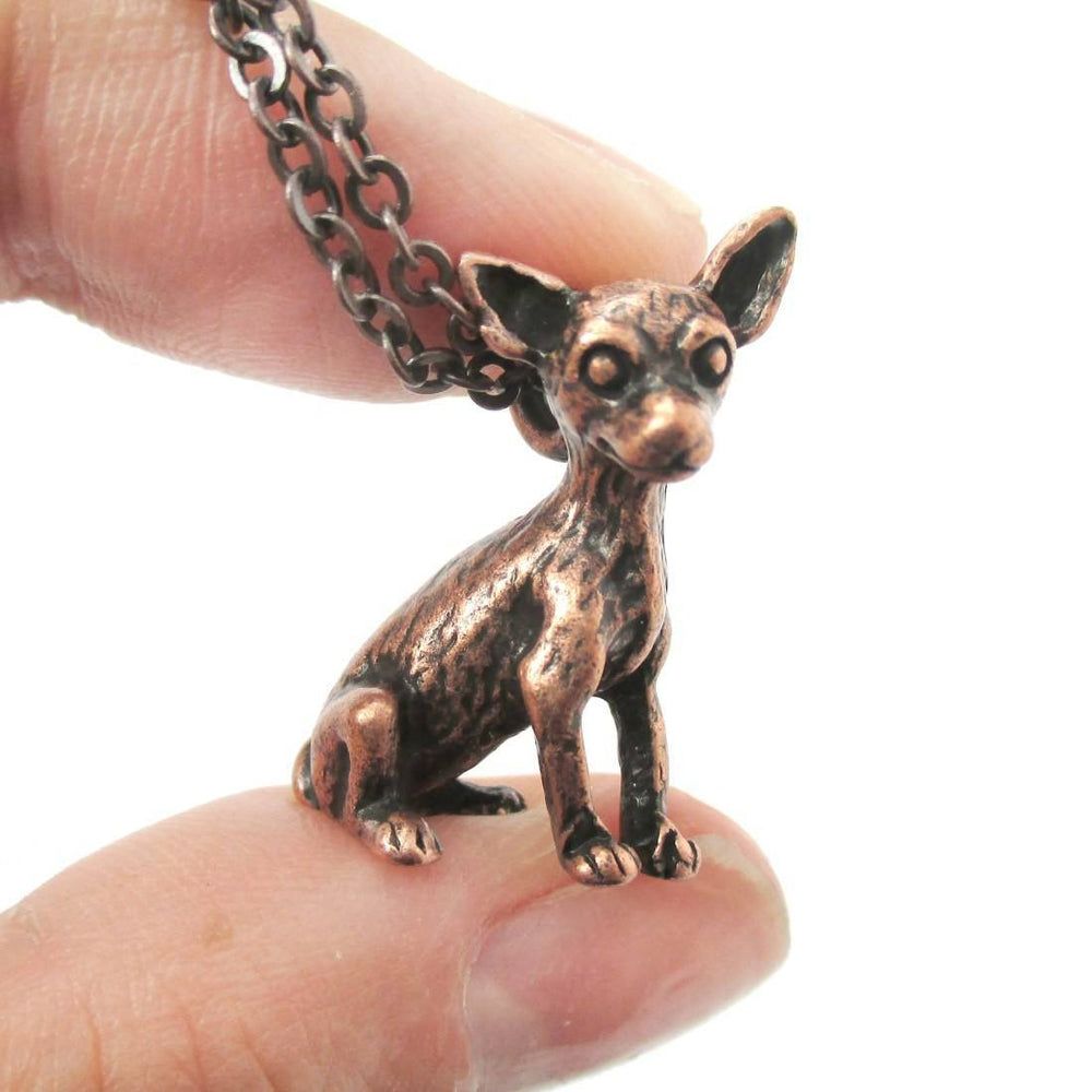 Realistic Chihuahua Puppy Dog Shaped Animal Pendant Necklace in Copper | Jewelry for Dog Lovers | DOTOLY