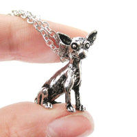 Realistic Chihuahua Puppy Dog Shaped Animal Pendant Necklace in Shiny Silver | DOTOLY
