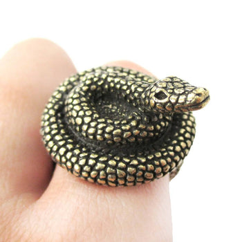 Realistic Coiled Snake On Your Finger Shaped Animal Ring in Brass | US Size 7 to 9 | DOTOLY