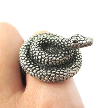 Realistic Coiled Snake On Your Finger Shaped Animal Ring in Silver | US Size 7 to 9 | DOTOLY