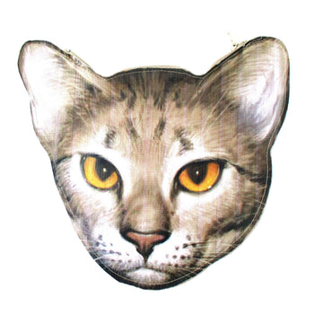 Realistic Cougar Lynx Cat Head Shaped Vinyl Animal Photo Print Clutch Bag | DOTOLY | DOTOLY