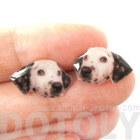 Realistic Dalmatian Head Shaped Animal Dog Breed Resin Stud Earrings | Made To Order | Handmade | DOTOLY