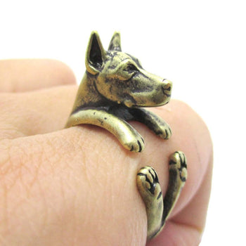 Realistic Doberman Pinscher Dog Shaped Animal Wrap Ring in Brass | Sizes 5 to 9 | DOTOLY