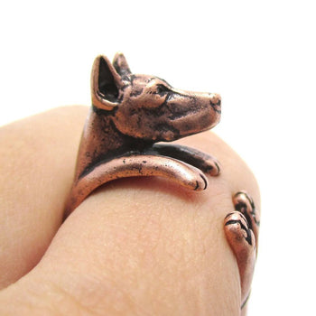 Realistic Doberman Pinscher Dog Shaped Animal Wrap Ring in Copper | Sizes 5 to 9 | DOTOLY