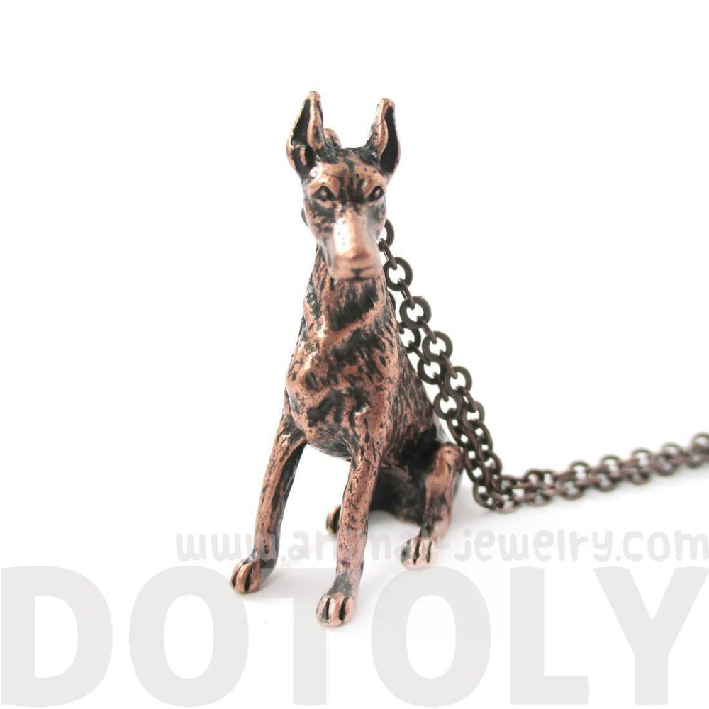 Realistic Doberman Pinscher Puppy Dog Shaped Animal Pendant Necklace in Copper | DOTOLY