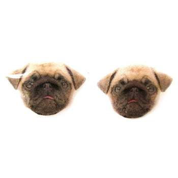 Realistic Dog Breed Pug Head Animal Shaped Resin Stud Earrings | Made To Order | Handmade | DOTOLY