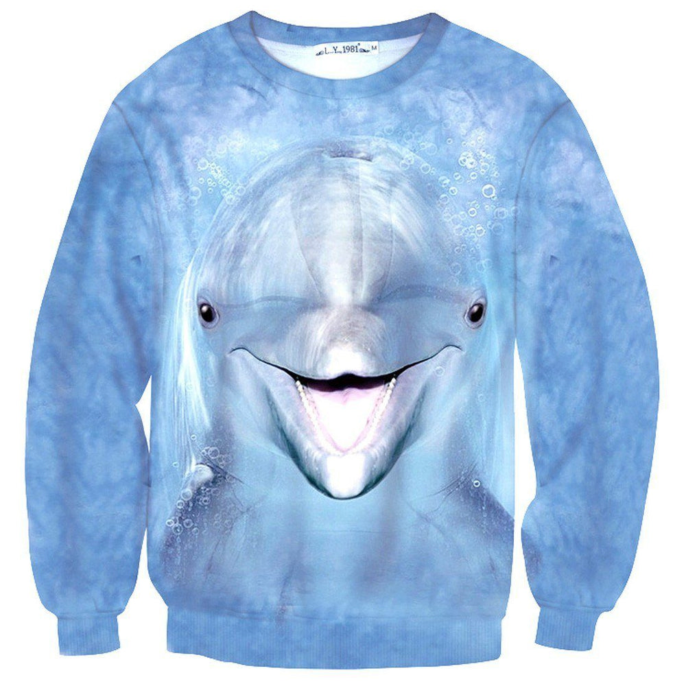 Realistic Dolphin Face All Over Print Unisex Pullover Sweater | Animal Themed Apparel | DOTOLY