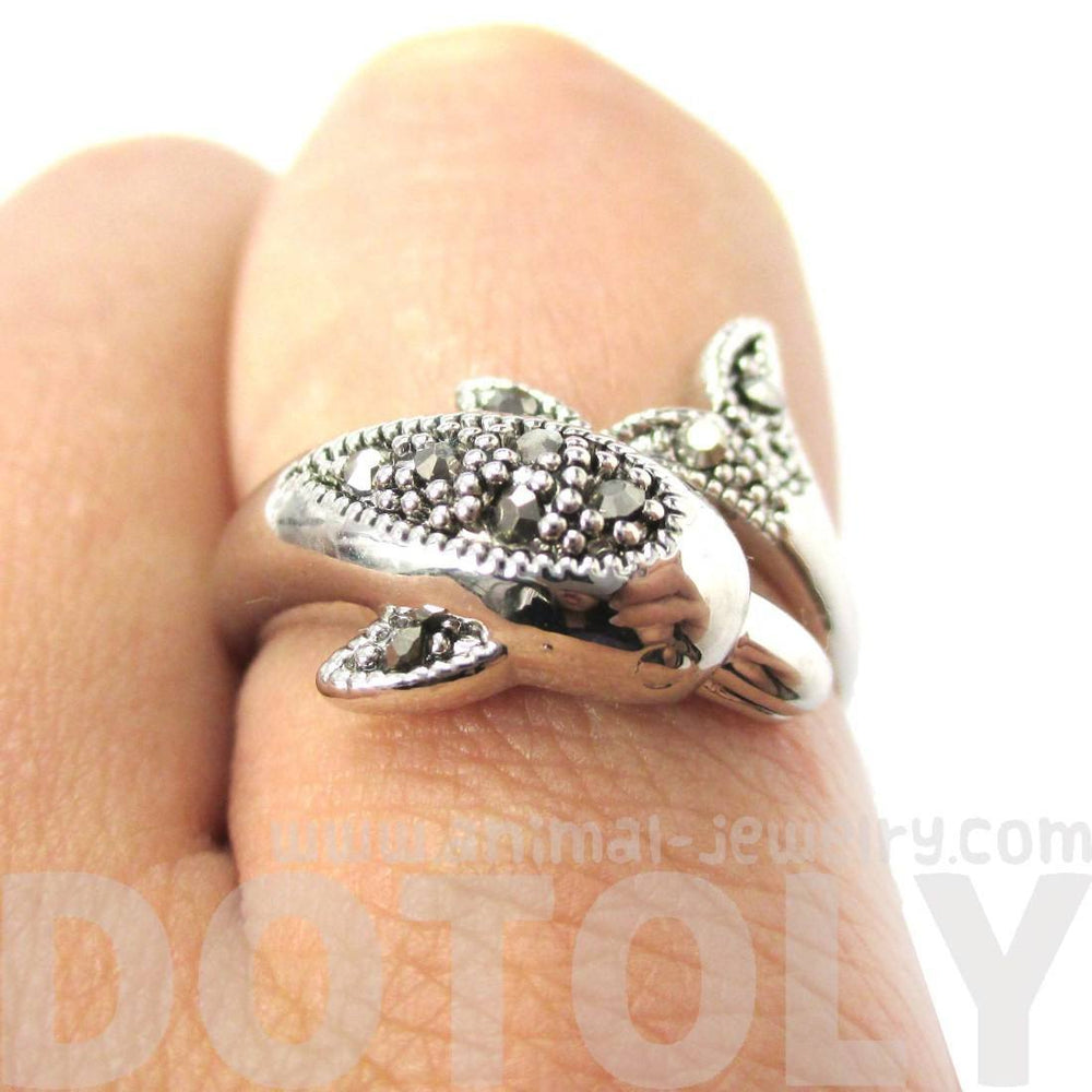 Realistic Dolphin Wrapped Around Your Finger Shaped Animal Ring in Silver | DOTOLY
