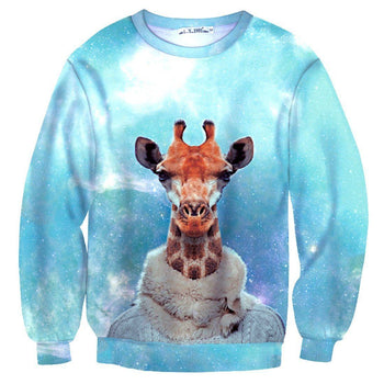 Realistic Dressed Up Giraffe Animal Portrait All Over Print Sweatshirt Sweater | DOTOLY