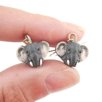Realistic Elephant Face Shaped Porcelain Ceramic Animal Dangle Earrings | Handmade | DOTOLY